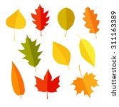 Stock vector autumn leaves set isolated on white background simple cartoon flat style vector illustration 311163389