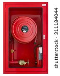 fire hose cabinet on white... | Shutterstock . vector #311184044