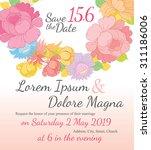 invitation wedding floral card...   Shutterstock .eps vector #311186006
