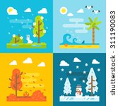 4 seasons park flat design set... | Shutterstock .eps vector #311190083