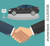 car dealer making a deal... | Shutterstock .eps vector #311203538