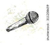 sketch microphone on a white... | Shutterstock .eps vector #311208659