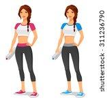 young fit woman in sportswear ... | Shutterstock .eps vector #311236790