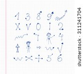 ink vector arrows number sketch | Shutterstock .eps vector #311241704