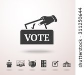 vote box with hand and set of... | Shutterstock .eps vector #311250644