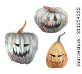 Watercolor Halloween Pumpkins...