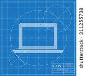 vector blueprint laptop icon .... | Shutterstock .eps vector #311255738