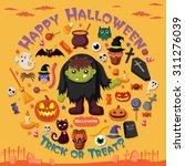 vintage halloween poster design ... | Shutterstock .eps vector #311276039