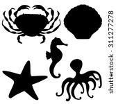 Sea Animals Black Silhouettes...
