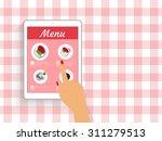 female hand is ordering food in ...