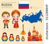 traveling europe   russia flat... | Shutterstock .eps vector #311288849