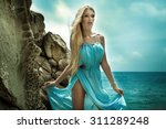beautiful blonde woman walking... | Shutterstock . vector #311289248