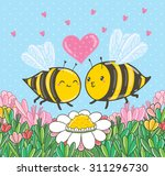 Cute Cartoon Bees In Love On...