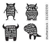 Set Of Monster Typography...
