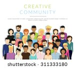 Group of creative people isolated on white. Flat modern designn of the group of business people standing together. Vector infographic of public audience or neighbours crowd and human population