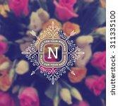 vintage monogram logo template... | Shutterstock .eps vector #311335100