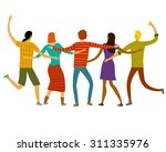 group of five happy friends ... | Shutterstock .eps vector #311335976