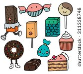 vector set of dessert cartoon   Shutterstock .eps vector #311338748
