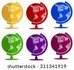 earth globe flat icon set | Shutterstock .eps vector #311341919