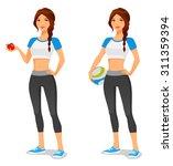 young woman in sportswear ... | Shutterstock .eps vector #311359394