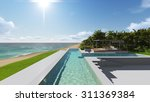 pool and houses by the ocean.... | Shutterstock . vector #311369384