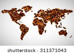 world map of maple leaves.... | Shutterstock .eps vector #311371043