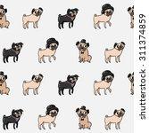 seamless cartoon pugs pattern | Shutterstock .eps vector #311374859