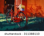 painting of vintage bicycle... | Shutterstock . vector #311388110