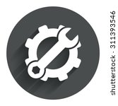 service icon. wrench key with...