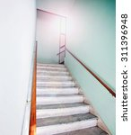 An Empty Stairwell With A...