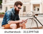 catching up on some news.... | Shutterstock . vector #311399768