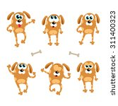 Cartoon Dogs Emotions And Pose...