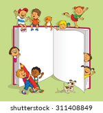 group of happy children having... | Shutterstock .eps vector #311408849
