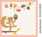 happy squirrel with big acorn.... | Shutterstock .eps vector #311411843