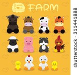 Animal Dolls Farm Set Cartoon...