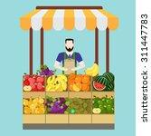 food market fruit shop salesman ...   Shutterstock .eps vector #311447783
