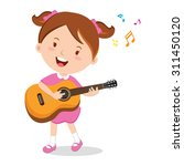 girl playing guitar. vector... | Shutterstock .eps vector #311450120