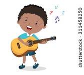 little boy playing guitar.... | Shutterstock .eps vector #311458250