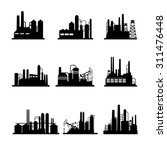 oil refinery plant icons | Shutterstock . vector #311476448