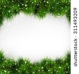 Shiny Green Christmas Tree Pine Branches Like Frame with Snowfall on White Background - stock vector