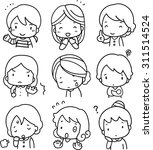 facial expressions of women  | Shutterstock .eps vector #311514524