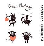 set of funny cute monkey.... | Shutterstock .eps vector #311527268