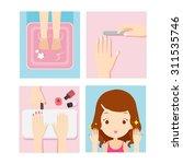girl relaxing in nail salon ...   Shutterstock .eps vector #311535746