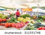 Farmers' Food Market Stall Wit...