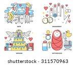 flat line illustration set of... | Shutterstock .eps vector #311570963
