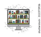 thin line flat design of online ... | Shutterstock .eps vector #311573936
