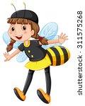Girl in bee costume illustration