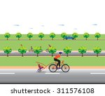 father biking with little son.... | Shutterstock .eps vector #311576108