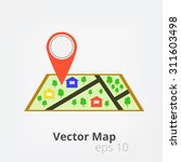 vector map and pin  eps10. | Shutterstock .eps vector #311603498
