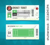 cricket ticket card modern... | Shutterstock .eps vector #311604194
